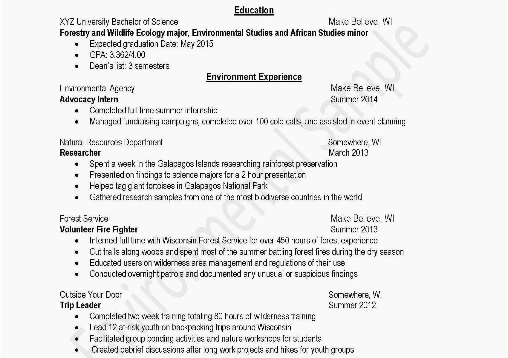 Resume for Summer Internship - √ Student Resume Templates Free and Best Examples Resumes Ecologist