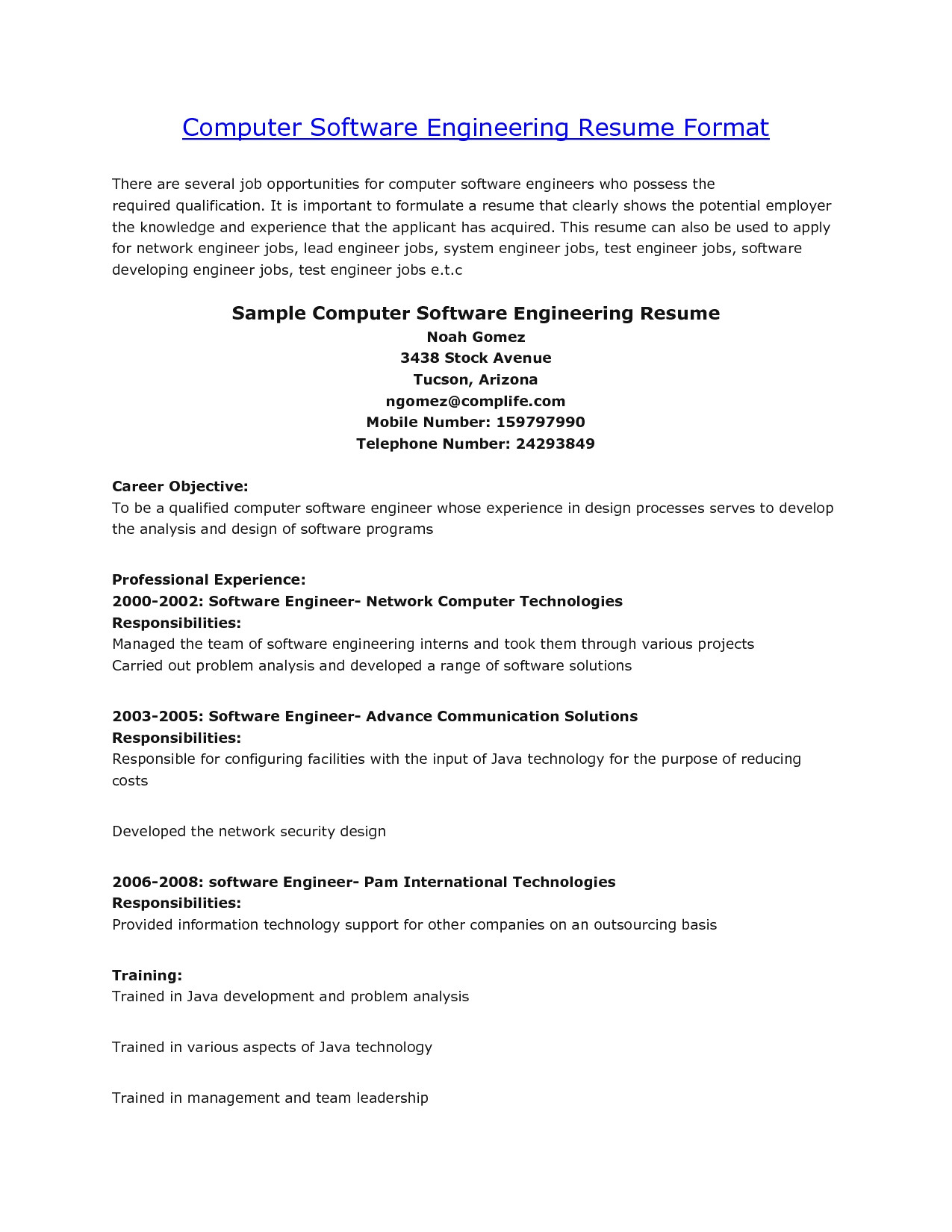 Resume format for Engineers - 44 Concepts Resume Sample Doc