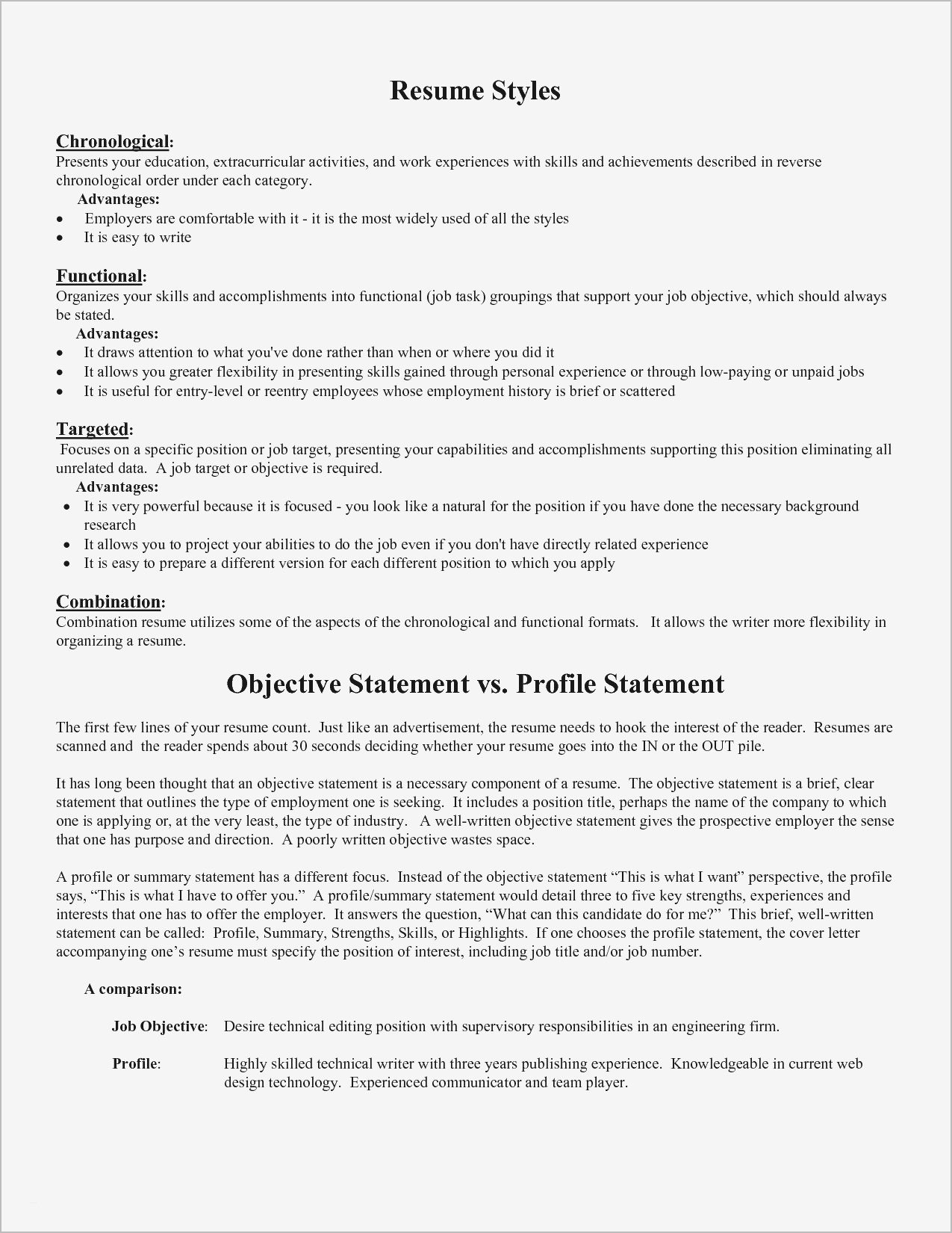 Resume Opening Statements Examples - Current Resume Styles Inspirational Unique Examples Resumes