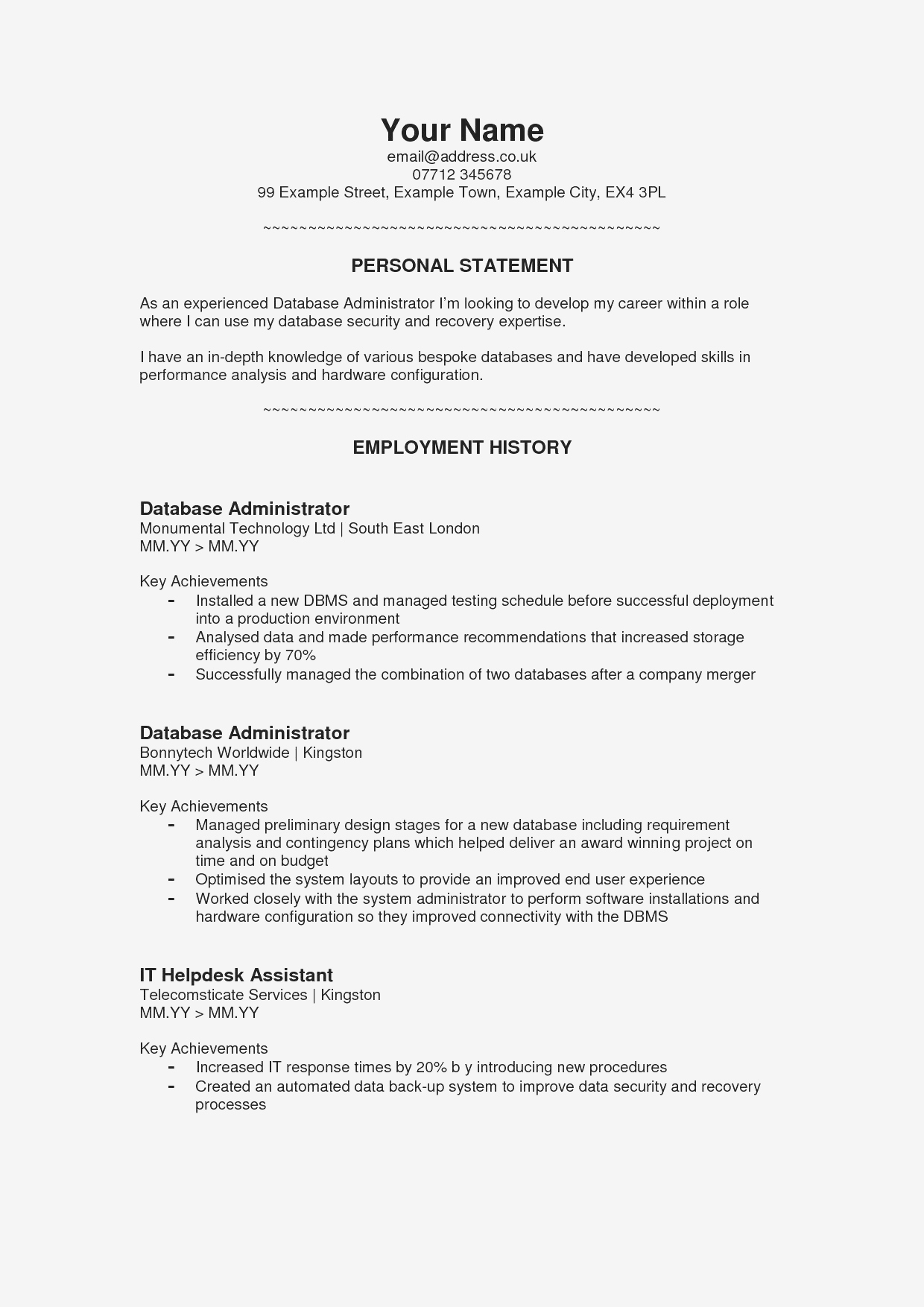Resume Personal Statement - Sample Resume Personal Statement