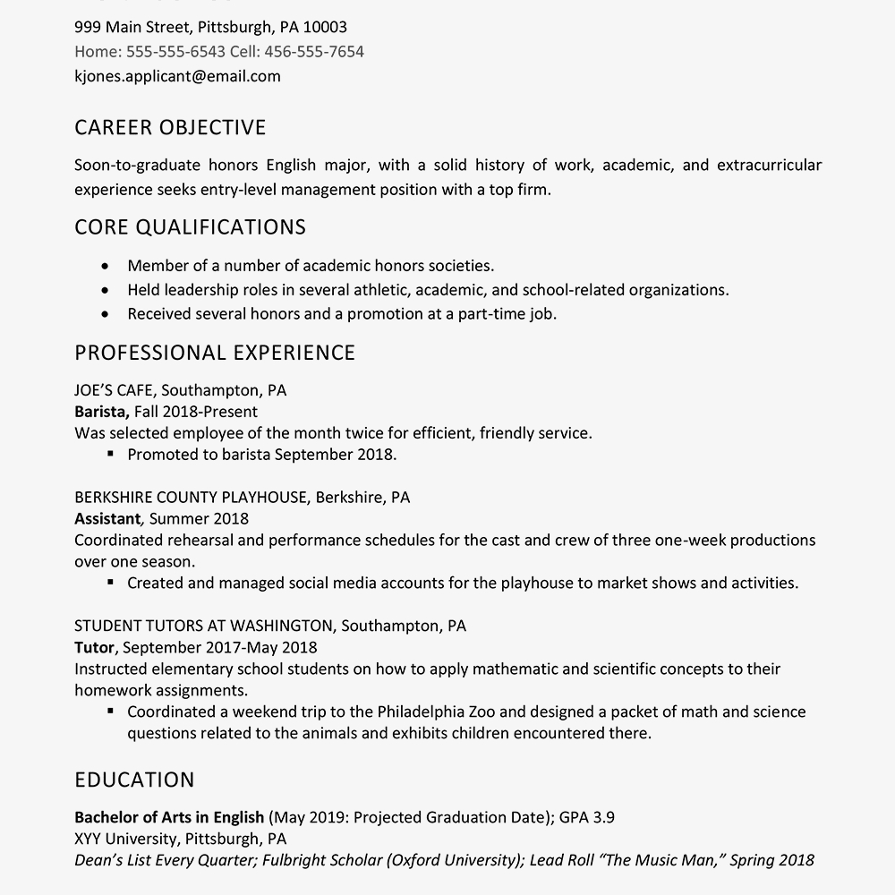Resume Summary for someone with No Work Experience - High School Graduate Resume Example Work Experience