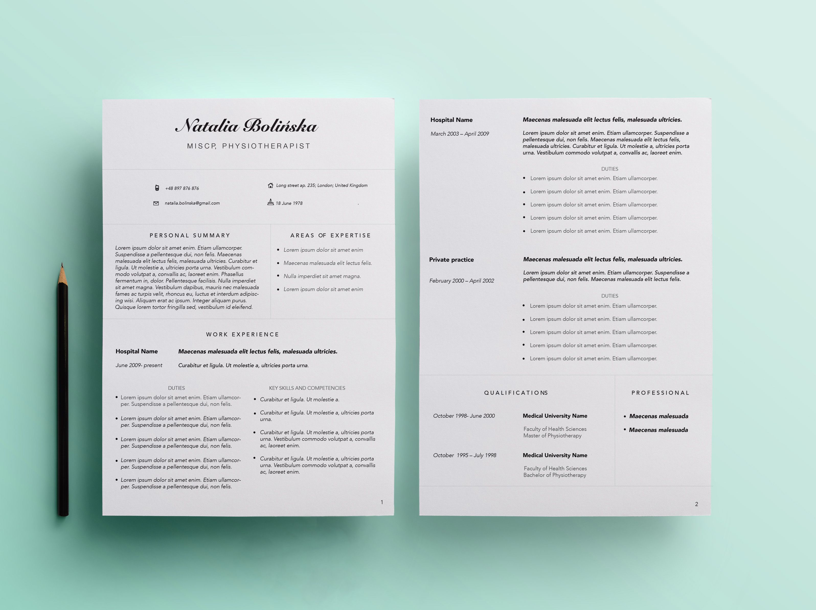 Resume Template Etsy - Beautiful Resume for Physiotherapist Looking for Similar One Find
