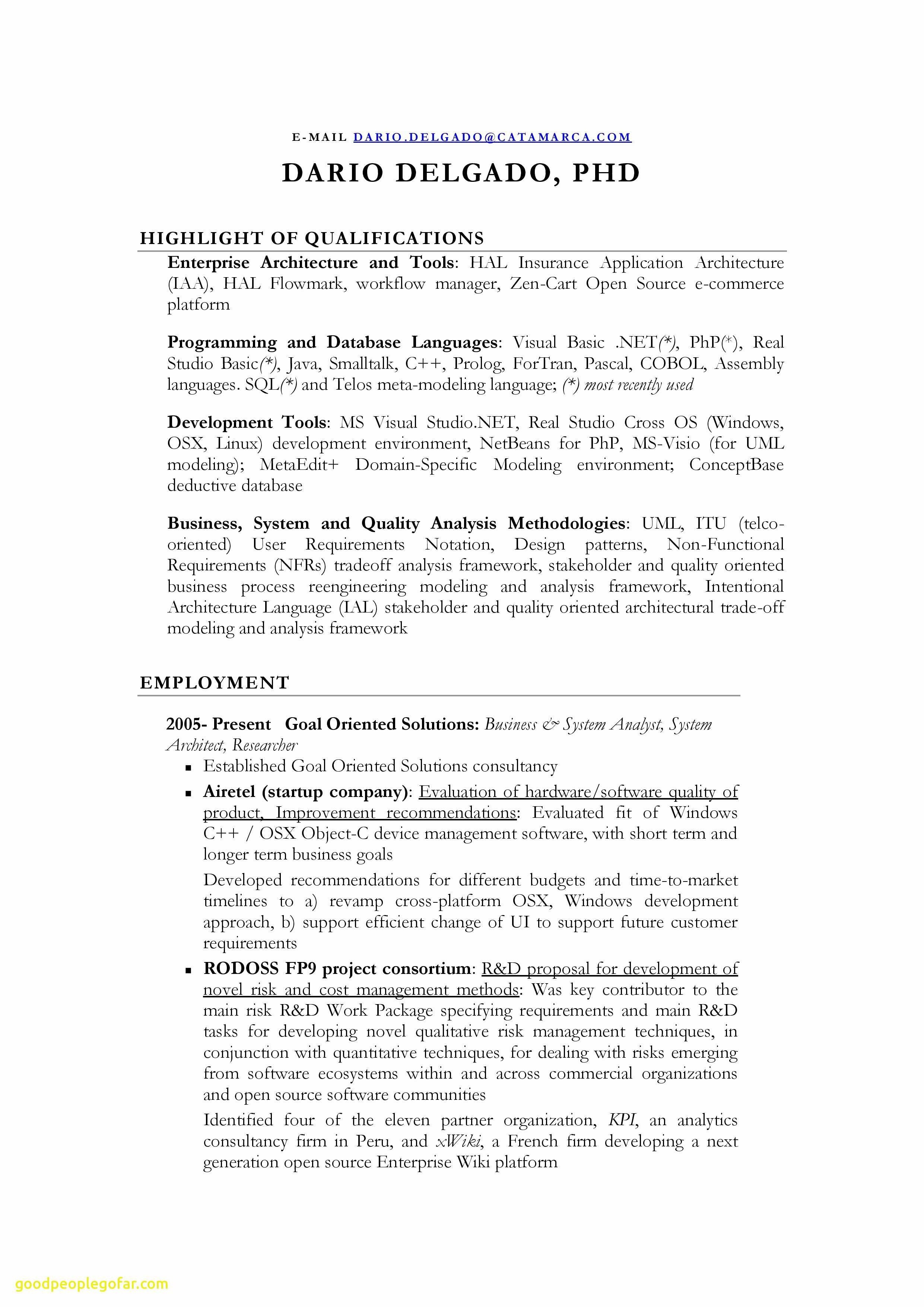 Resume Template for Business Analyst - System Analyst Resume Beautiful Fresh Programmer Resume Template