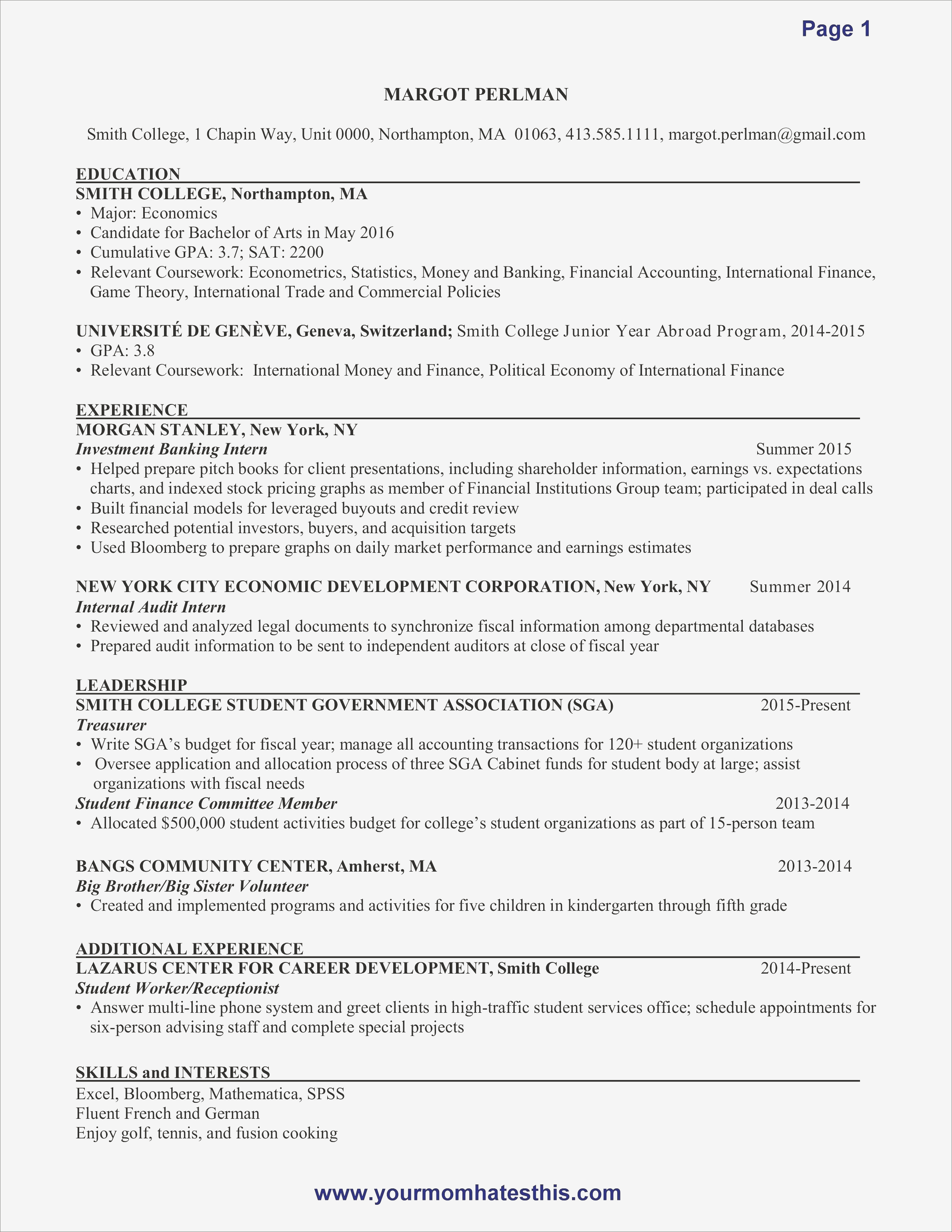 Resume Template for College Freshmen - College Freshman Resume Samples
