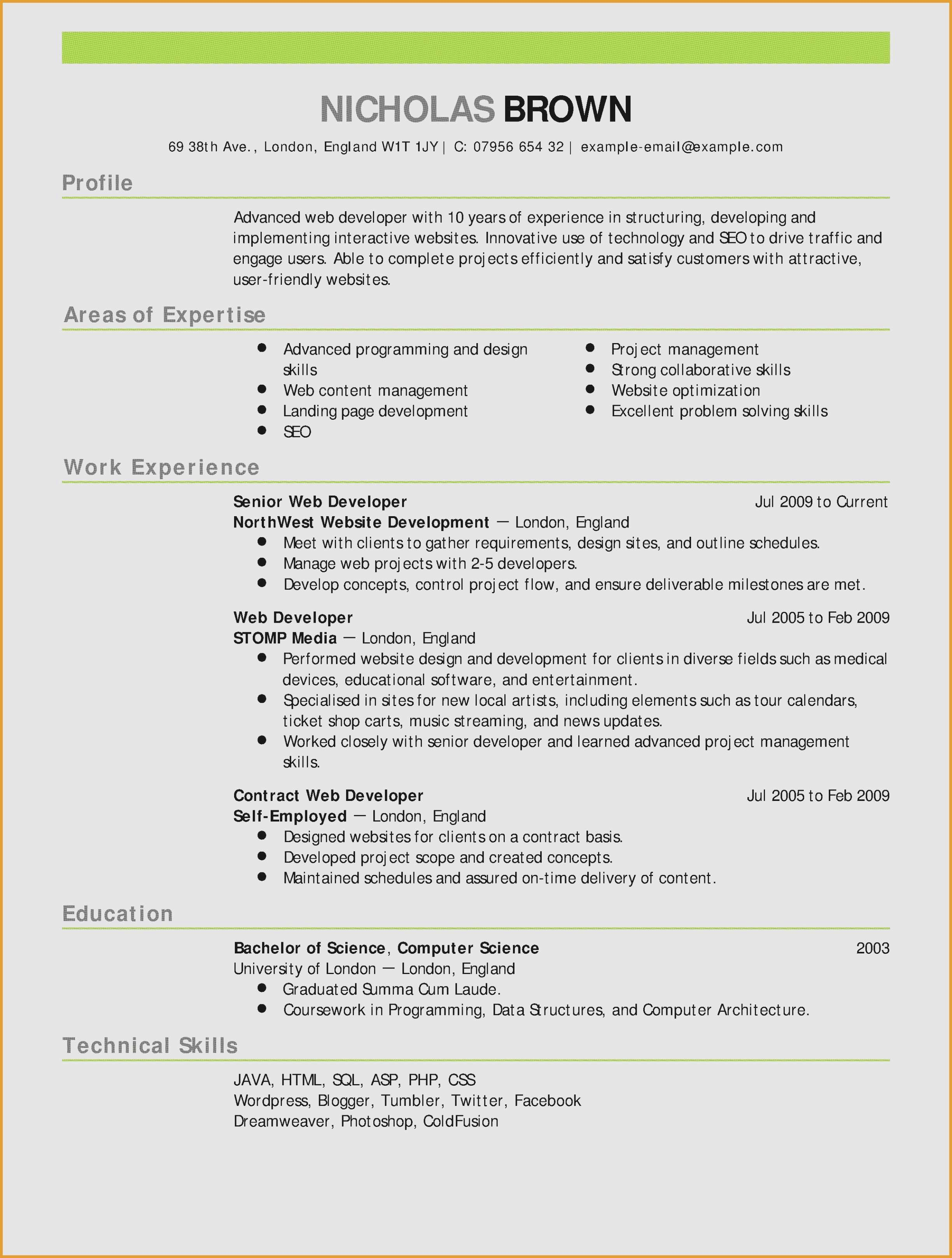 Resume Template for Computer Science - Resume for A Server Server Skills Resume Fresh Skills for A Resume