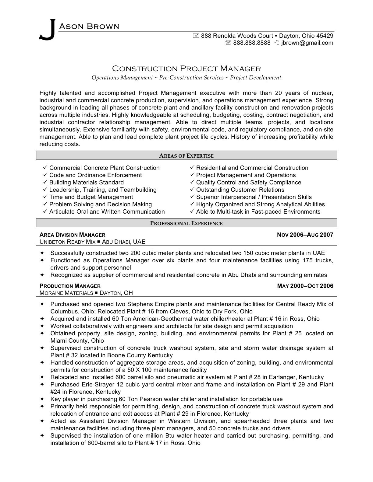 Resume Template for Construction Project Manager - Project Manager Core Petencies Resume Examples Example Updated