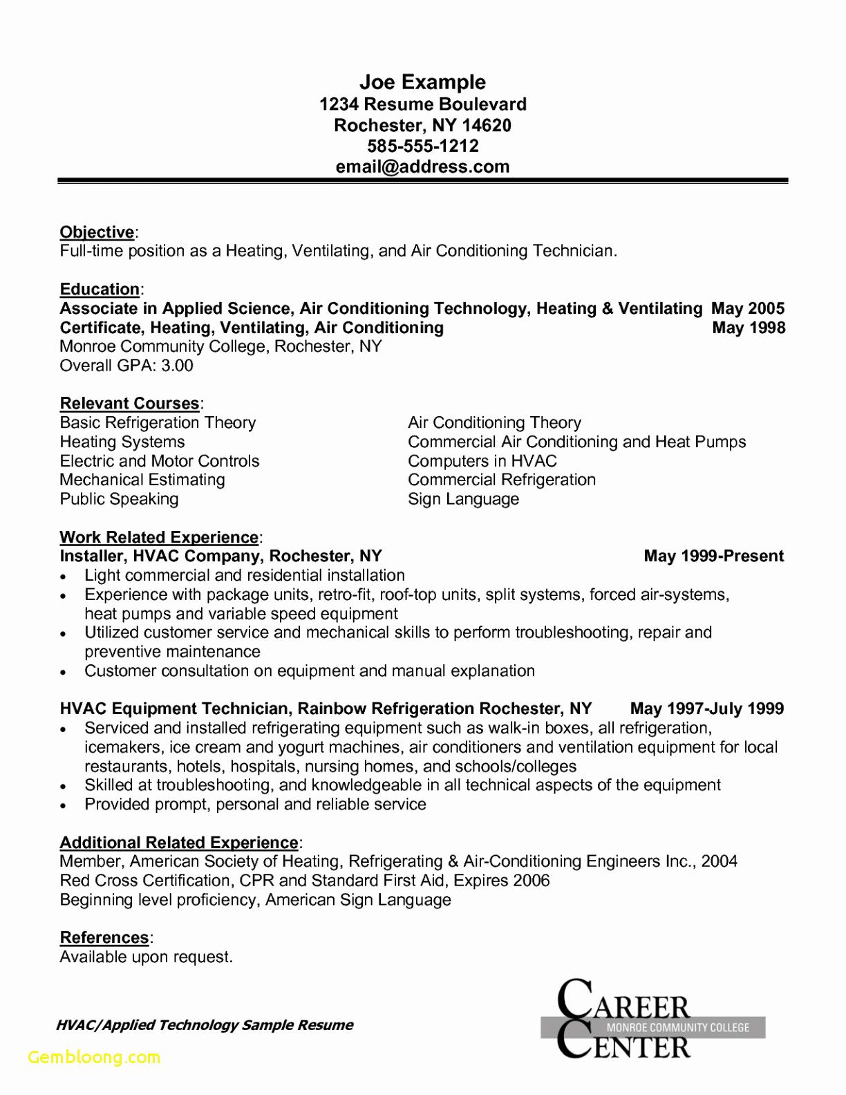 Resume Template for Hvac Technician - Hvac Cover Letter Template Collection