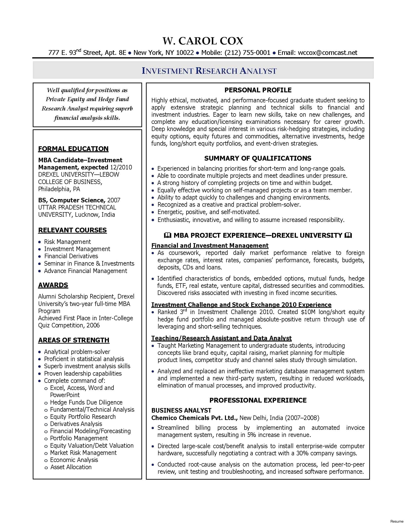 Resume Template for Mba Graduates - Business Analyst Jobs