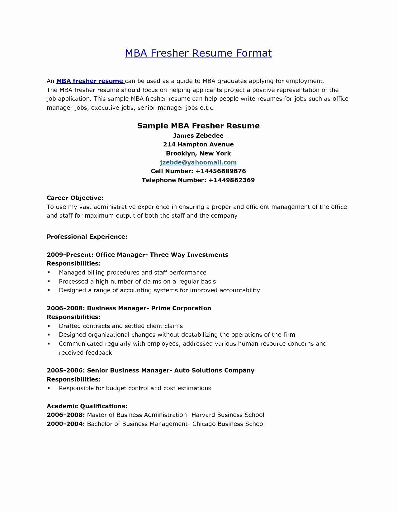 Resume Template for Mba Graduates - 46 New Mba Finance Resume Sample for Freshers Resume Templates