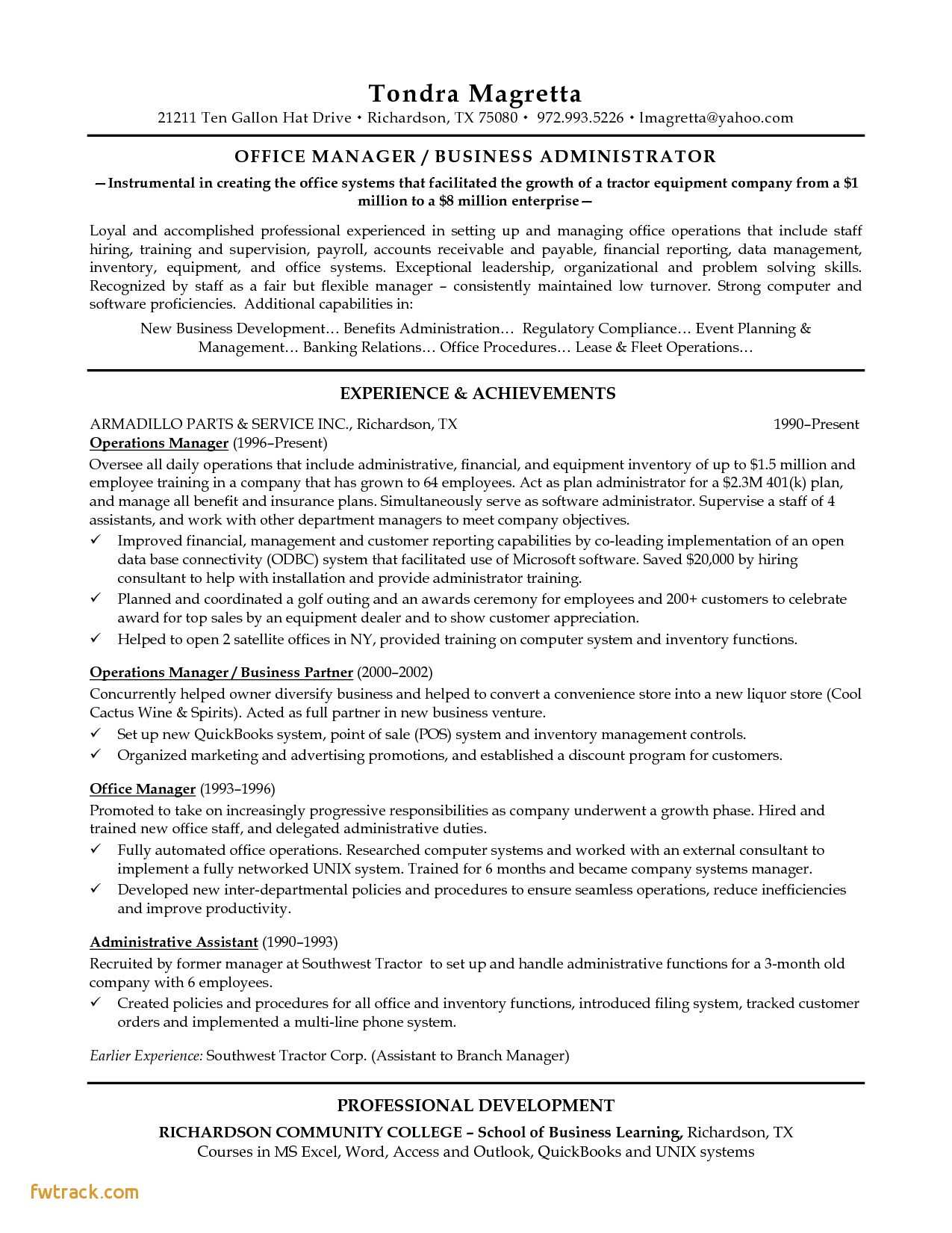 Resume Template for Office Administrator - Resume Examples for Retail Fwtrack Fwtrack