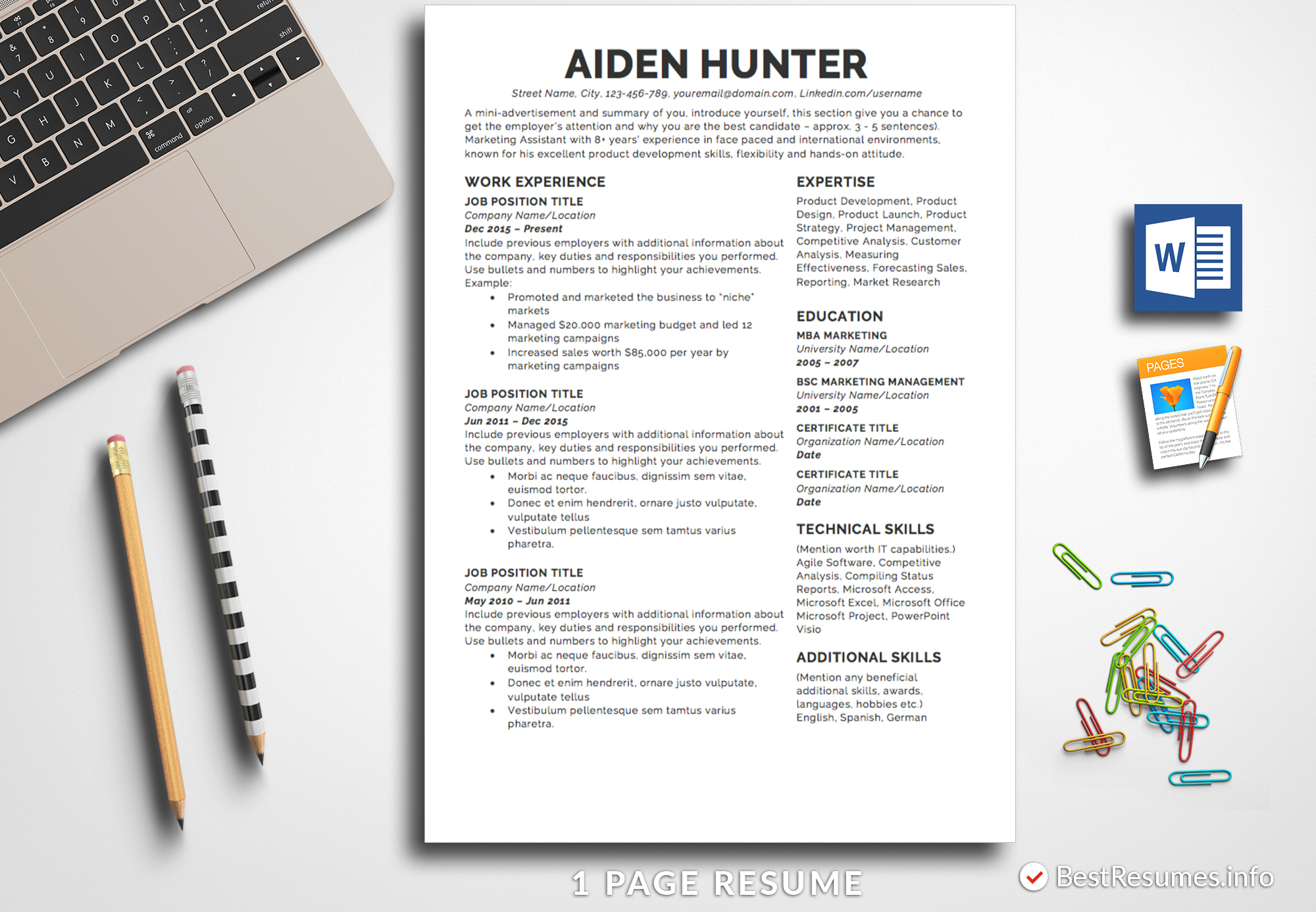 Resume Template for Pages Mac - Resume Template Aiden Hunter Bestresumes