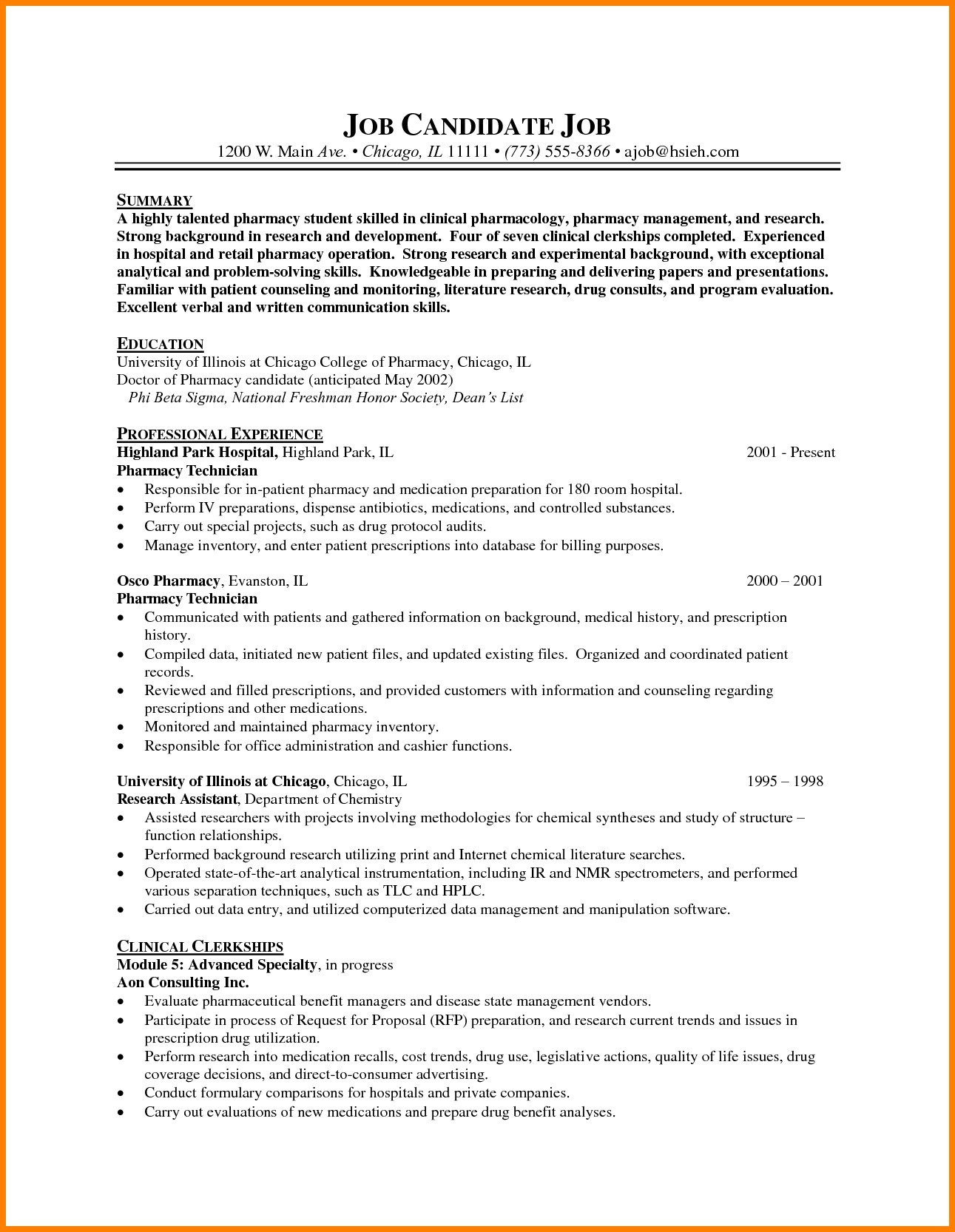 Resume Template for Pharmacy Technician - 16 Pharmacy Technician Resume