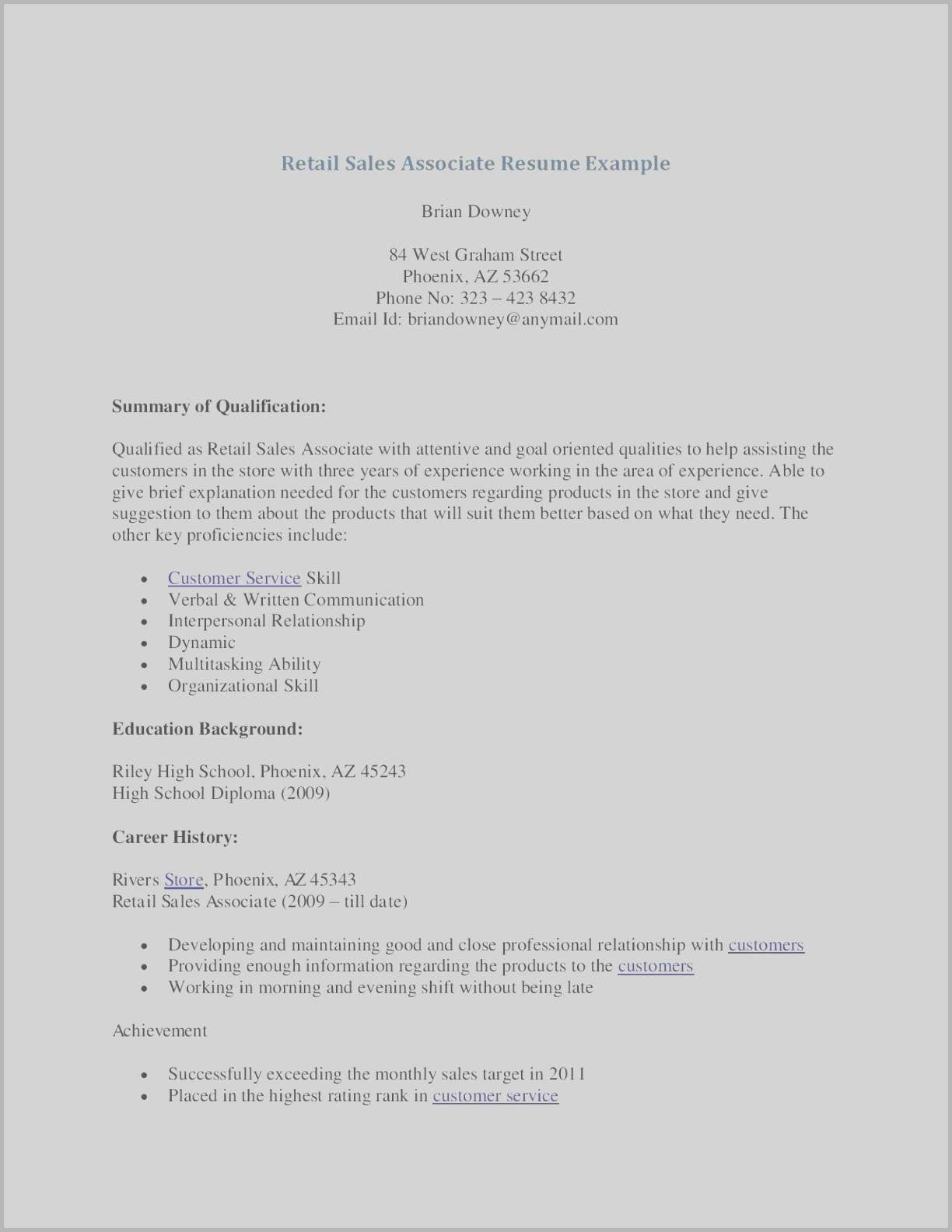 Resume Template for Retail Sales associate - Sales associate Resume Examples Lovely Sample Resume Retail Sales