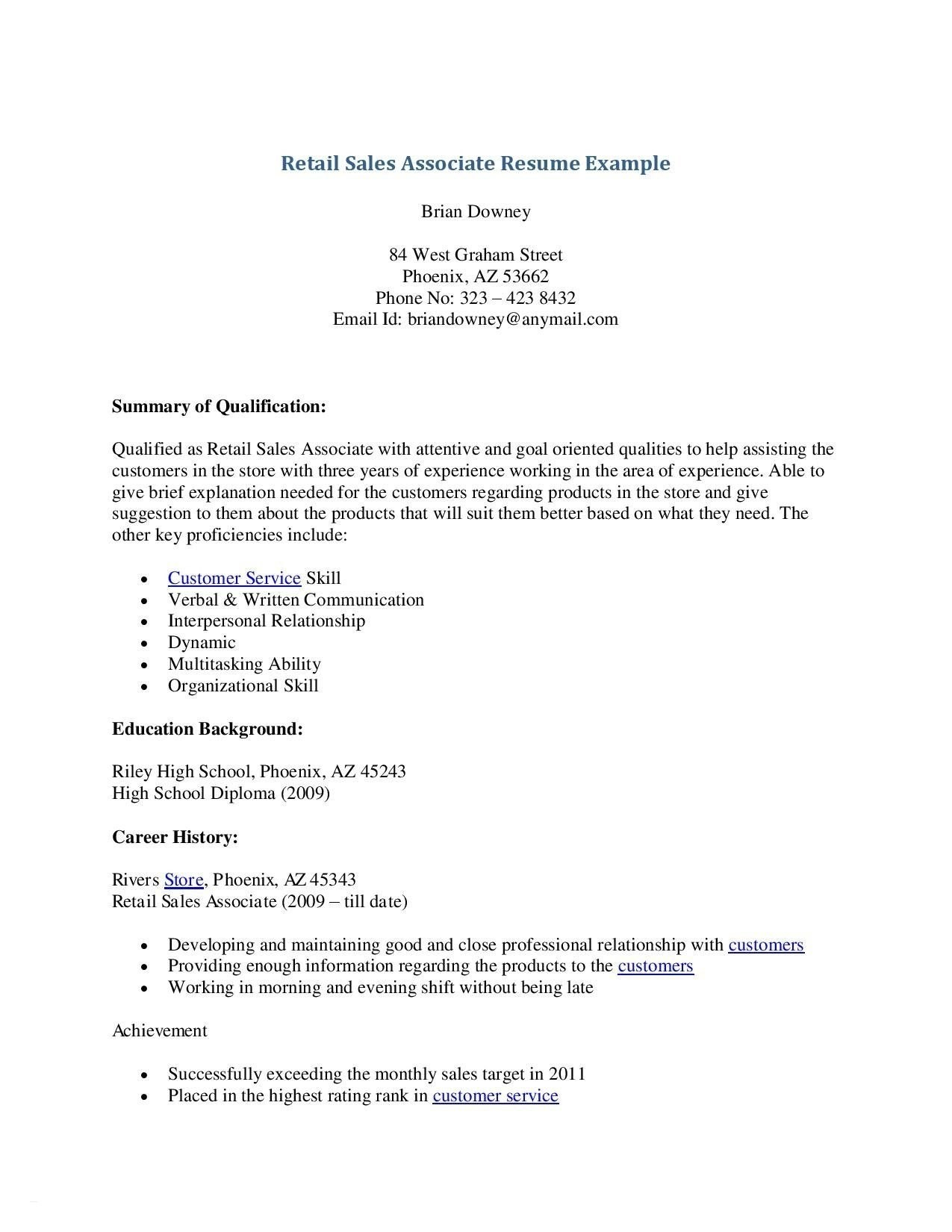 Resume Template for Retail Sales associate - Retail Sales Manager Resume Lovely Retail Resume Sample