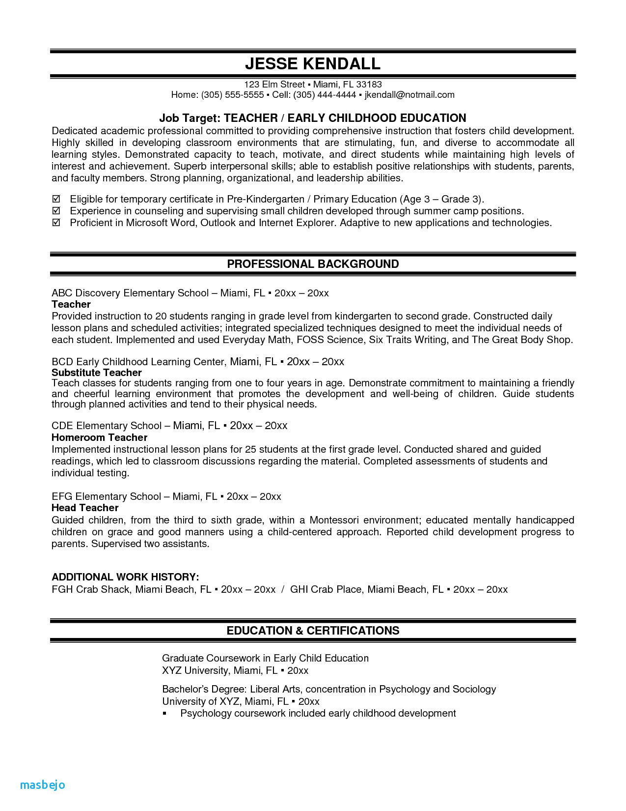 Resume Template for Teacher assistant - Resume Examples for Teacher assistant Elegant Resume for Highschool