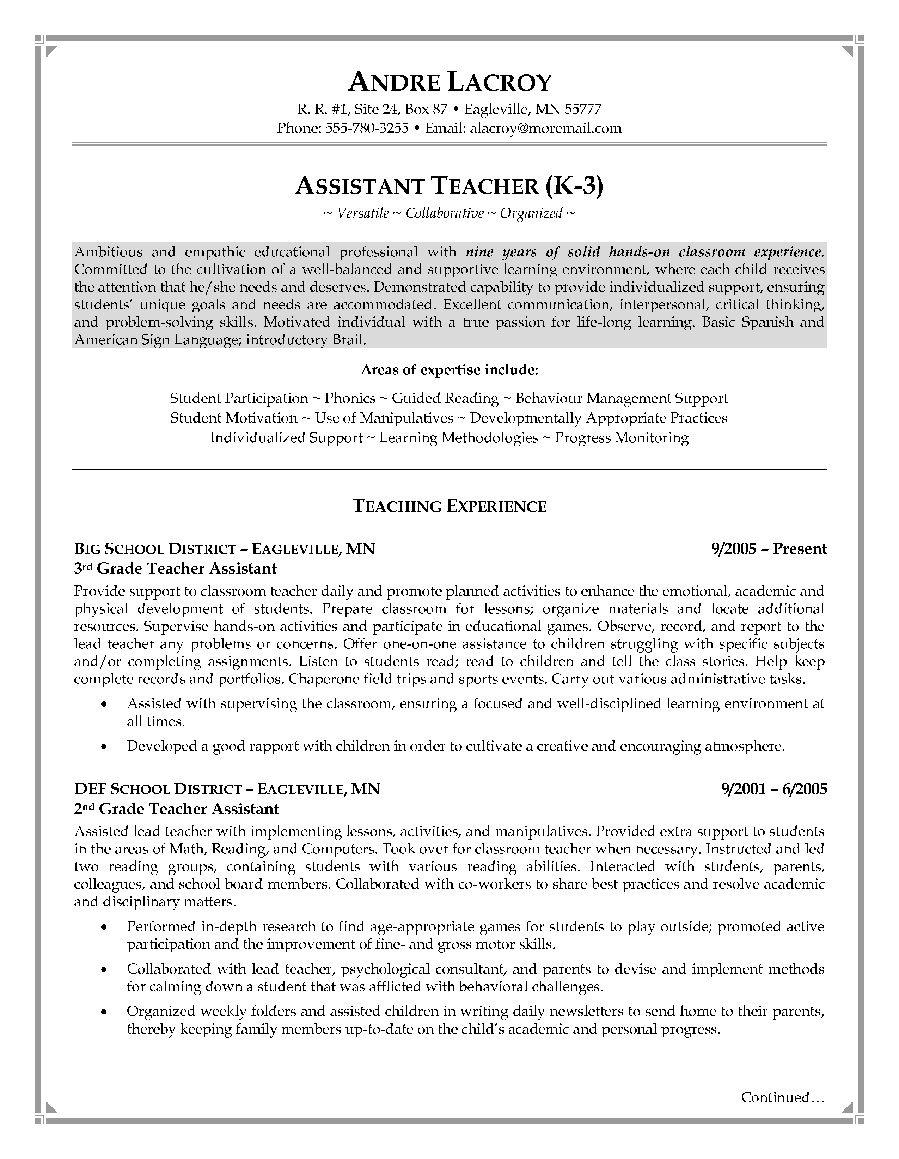 Resume Template for Teacher assistant - Pin by topresumes On Latest Resume Pinterest