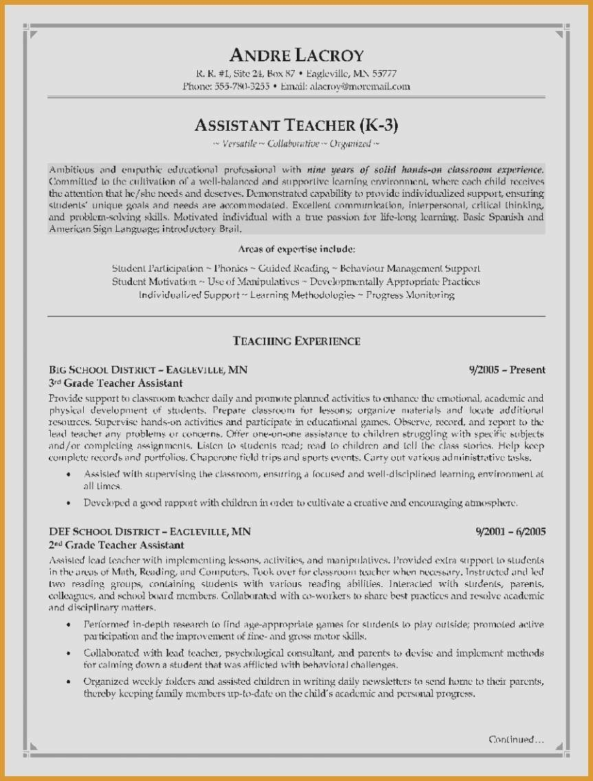 Resume Template for Teaching assistant - Bartender Resume Examples Elegant Resume for Teacher Elegant