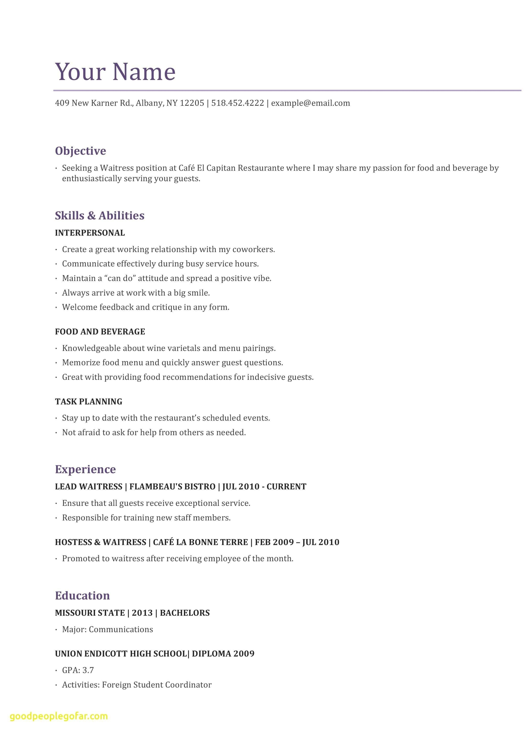 Resume Template for Waitress - Waitress Resume Examples Lovely New where Can I Get A Resume Unique