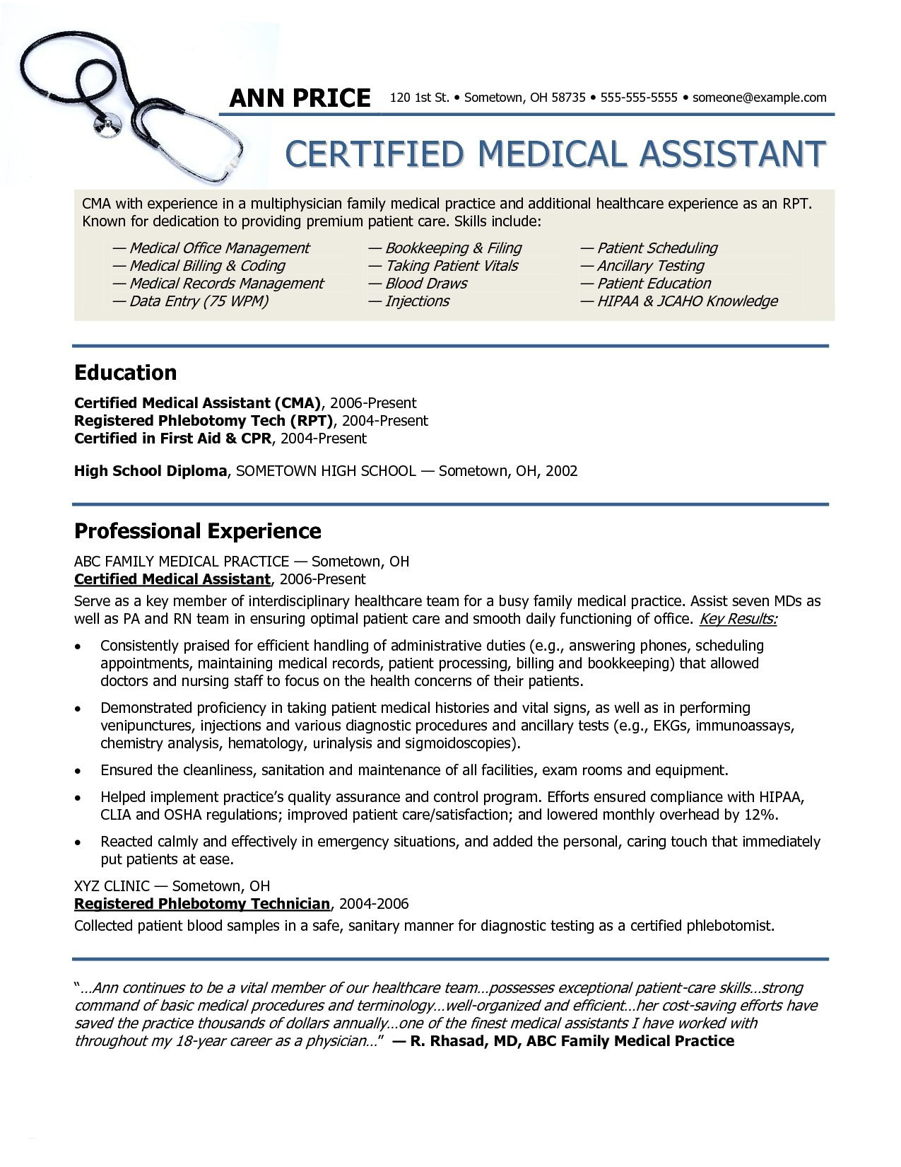 Resume Template Medical assistant - Medical assistant Resume Unique Medical assistant Resumes New