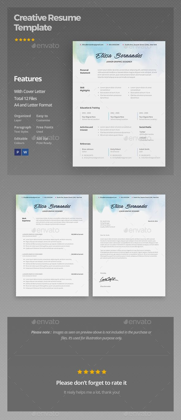 Resume Template Psd - Creative Resume Template Pinterest