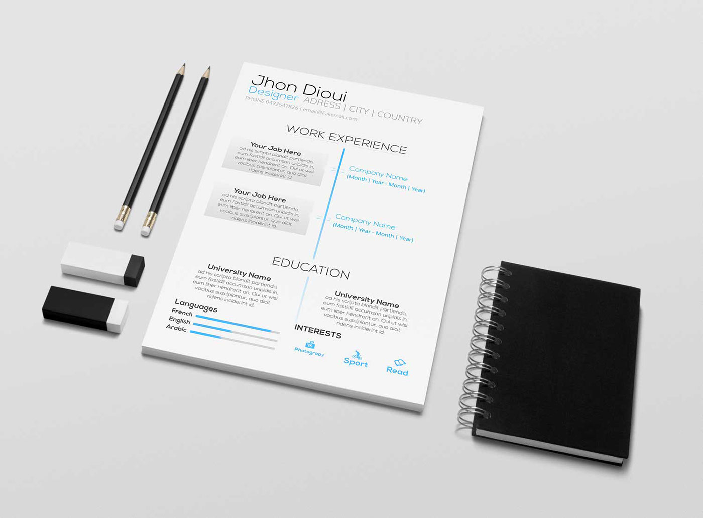 Resume Template Psd - Free Resume Template Psd On Behance