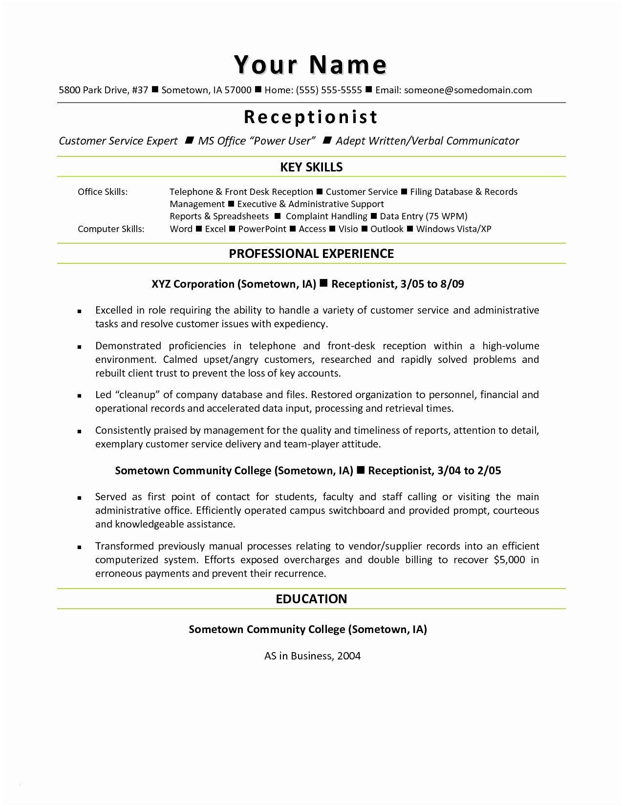 Resume Template Receptionist - Consulting Resume Template Awesome Resume Mail format Sample Fresh
