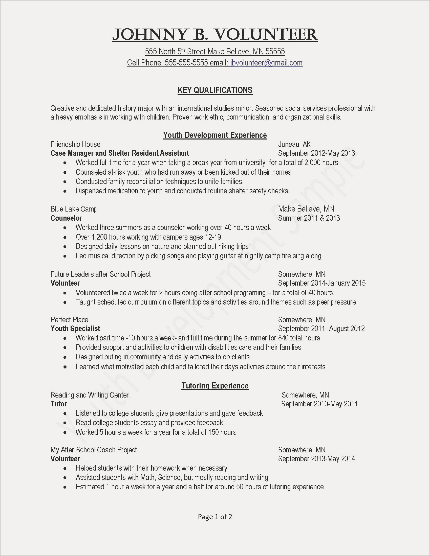 Resume Template Volunteer Work - Resume Template Copy and Save Activities Resume Template Valid Job
