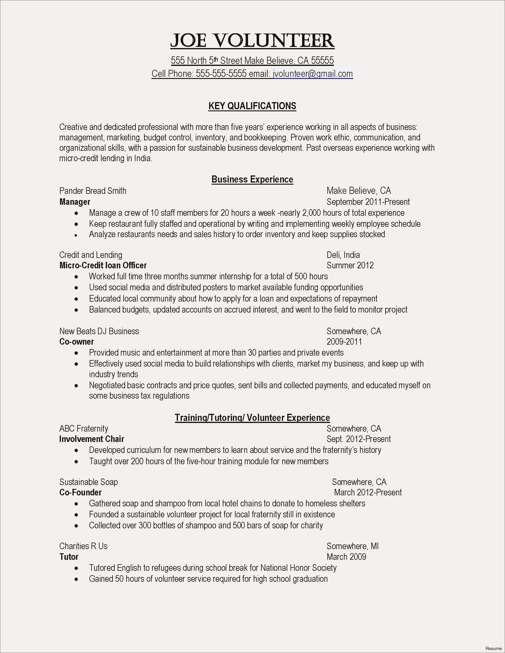 Resume Template with Volunteer Experience - Teenage Resume Template Refrence Best Resume for Highschool Students