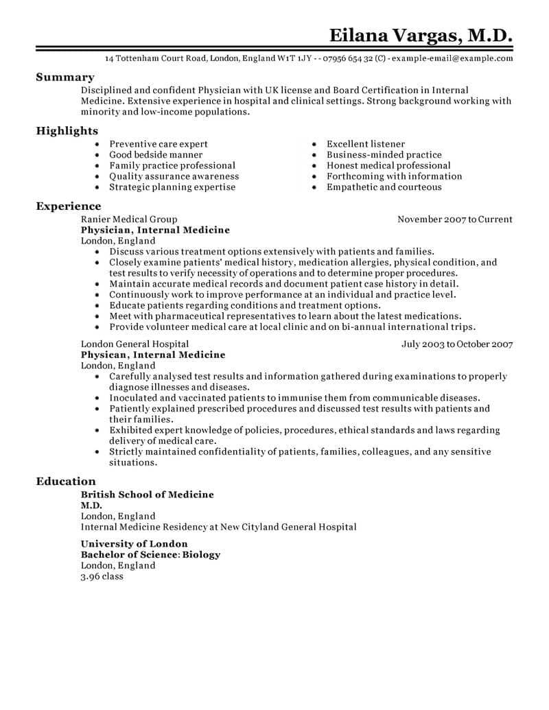 Resume Templates for Medical Field - Best Doctor Resume Example