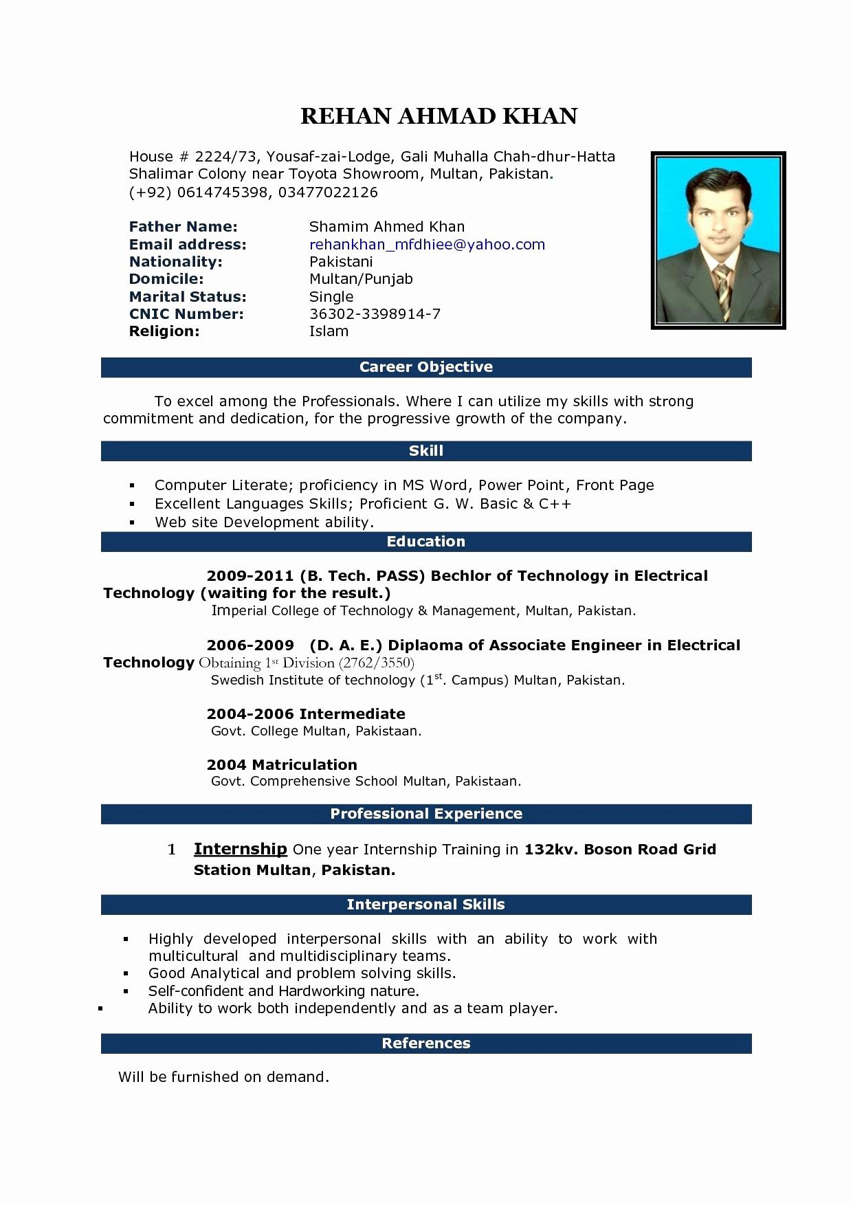 Resume with Picture Template - Web Designer Resume Word format Inspirational Best Pr Resume