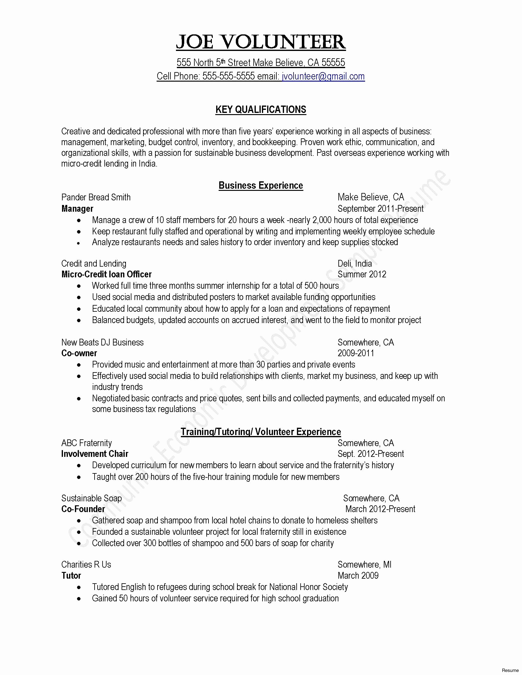 Resume without Work Experience - Cover Letter Template No Experience Samples
