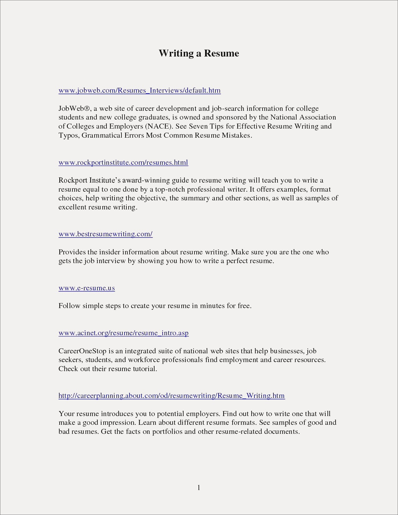 Resume Writing Guide - How to Write An Effective Resume Examples Refrence Sample Entry