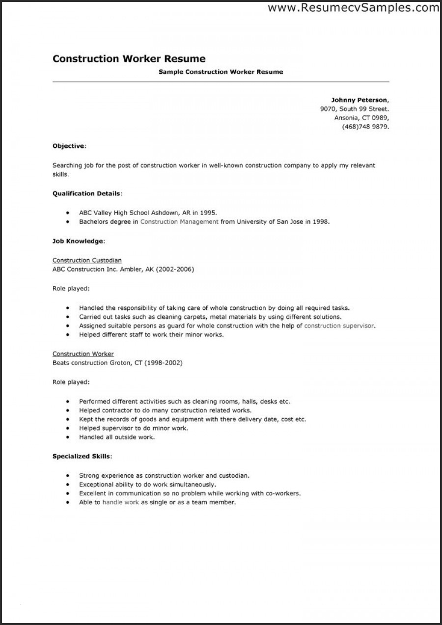 Resumes for Construction Workers - Construction Helper Resume Paragraphrewriter