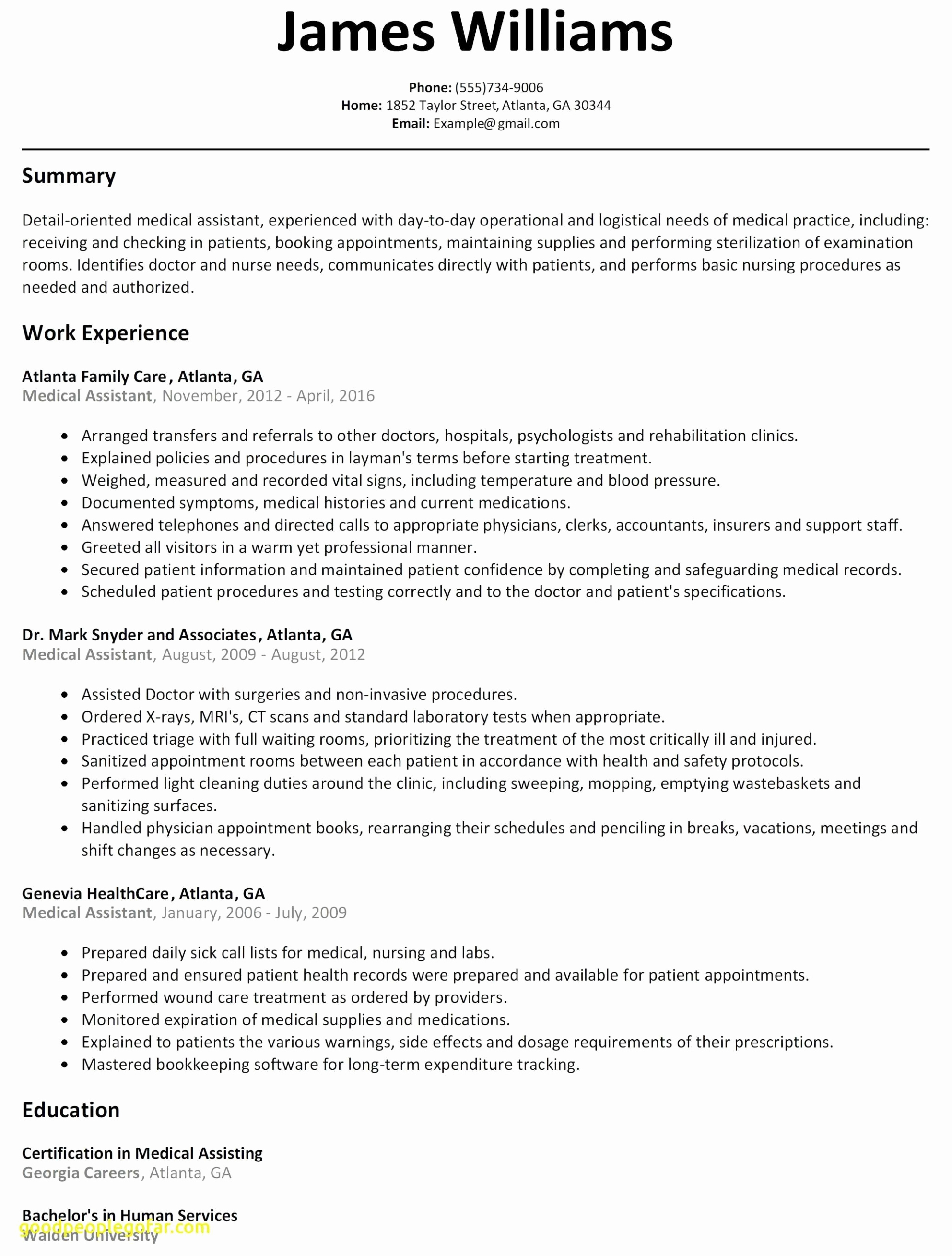 Resumes for Medical assistants with No Experience - Job Resumes with No Experience First Time Resume with No Experience
