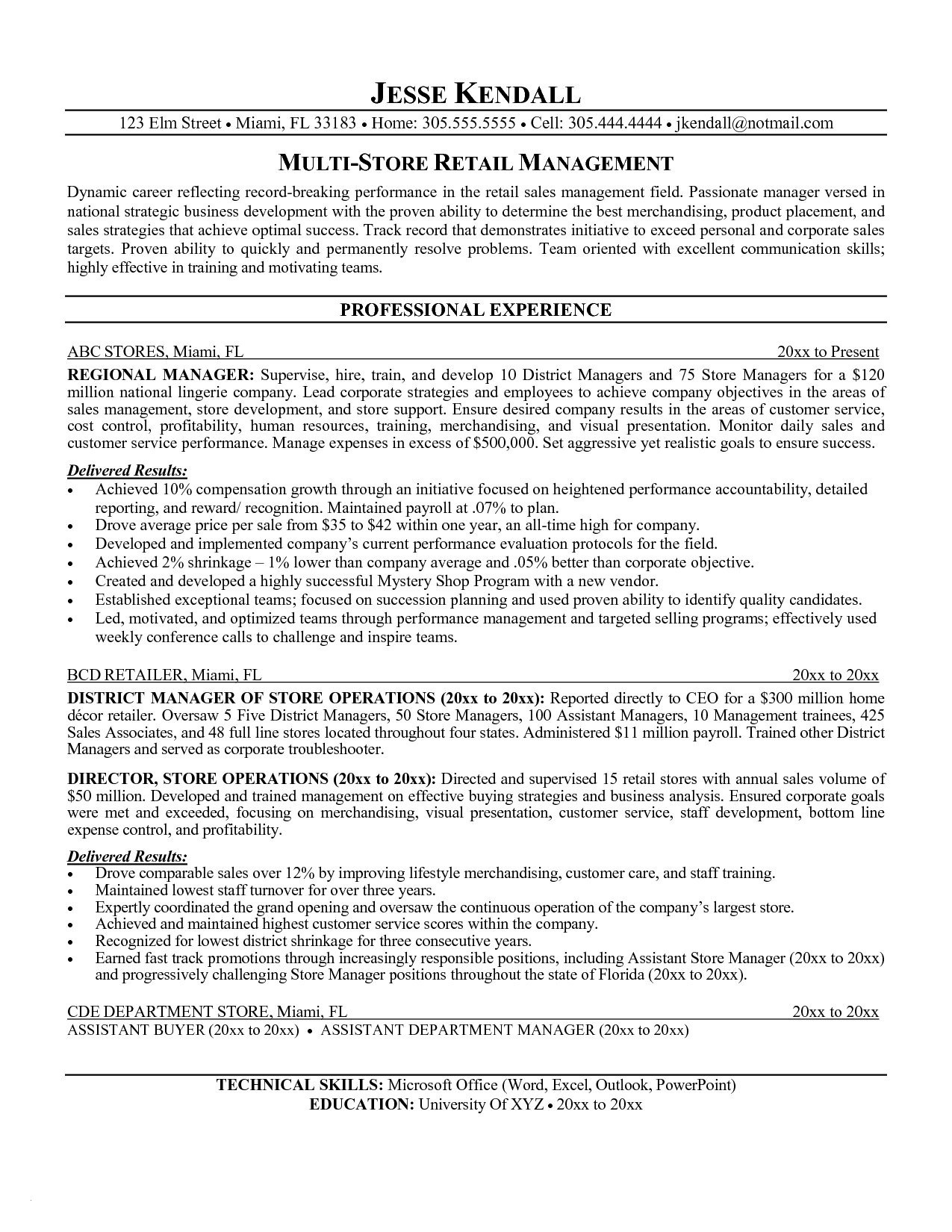 Retail Manager Resume Examples - General Manager Resume Sample Unique Sample Retail Manager Resume