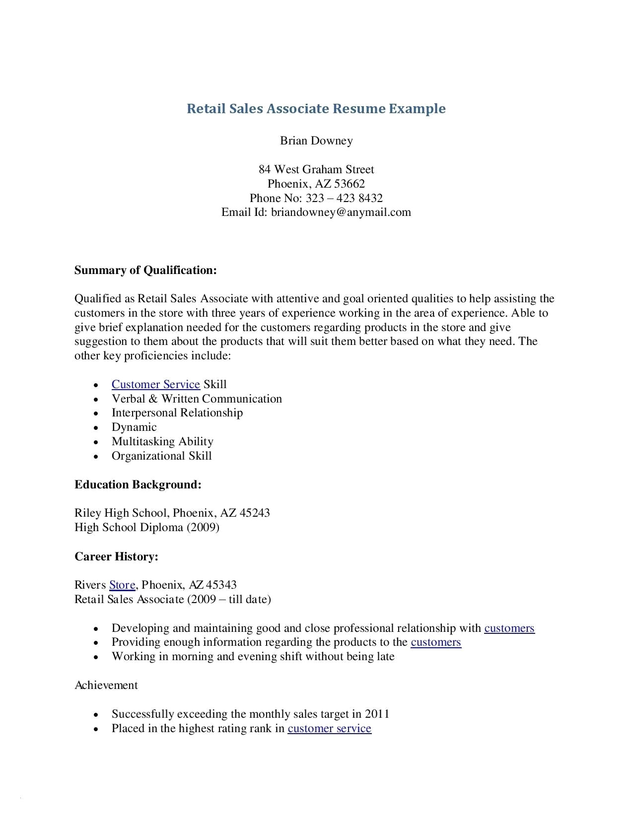 Retail Sales associate Resume Template - 39 Design Resume for Retail Store