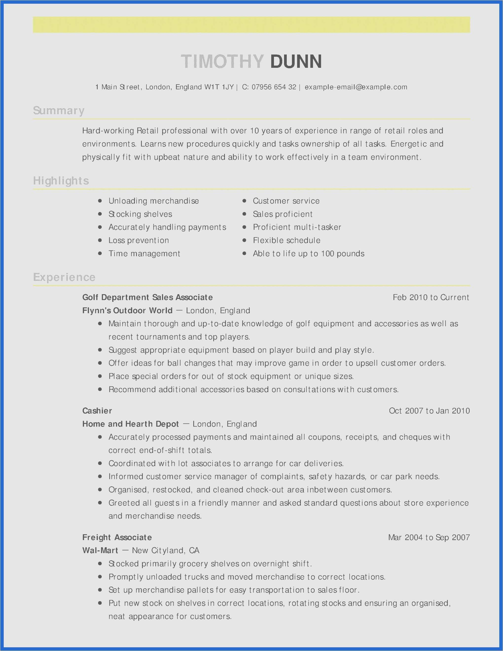 Retail Sales Resume Template - 50 Collection Retail Sales Receipt Template