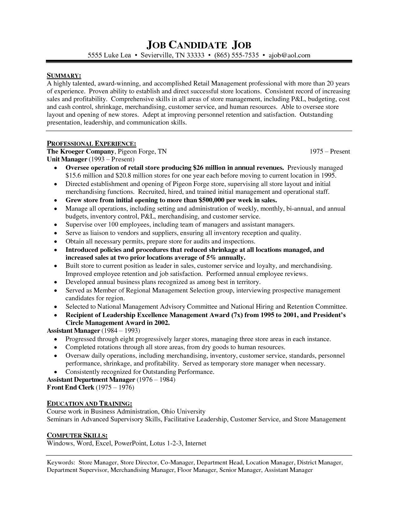 Retail Store Resume - Sample Resume for Store Manager Position New Retail Supervisor