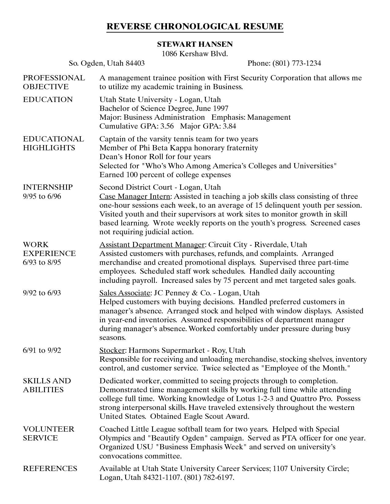 Reverse Chronological Resume - Reverse Chronological order Resume