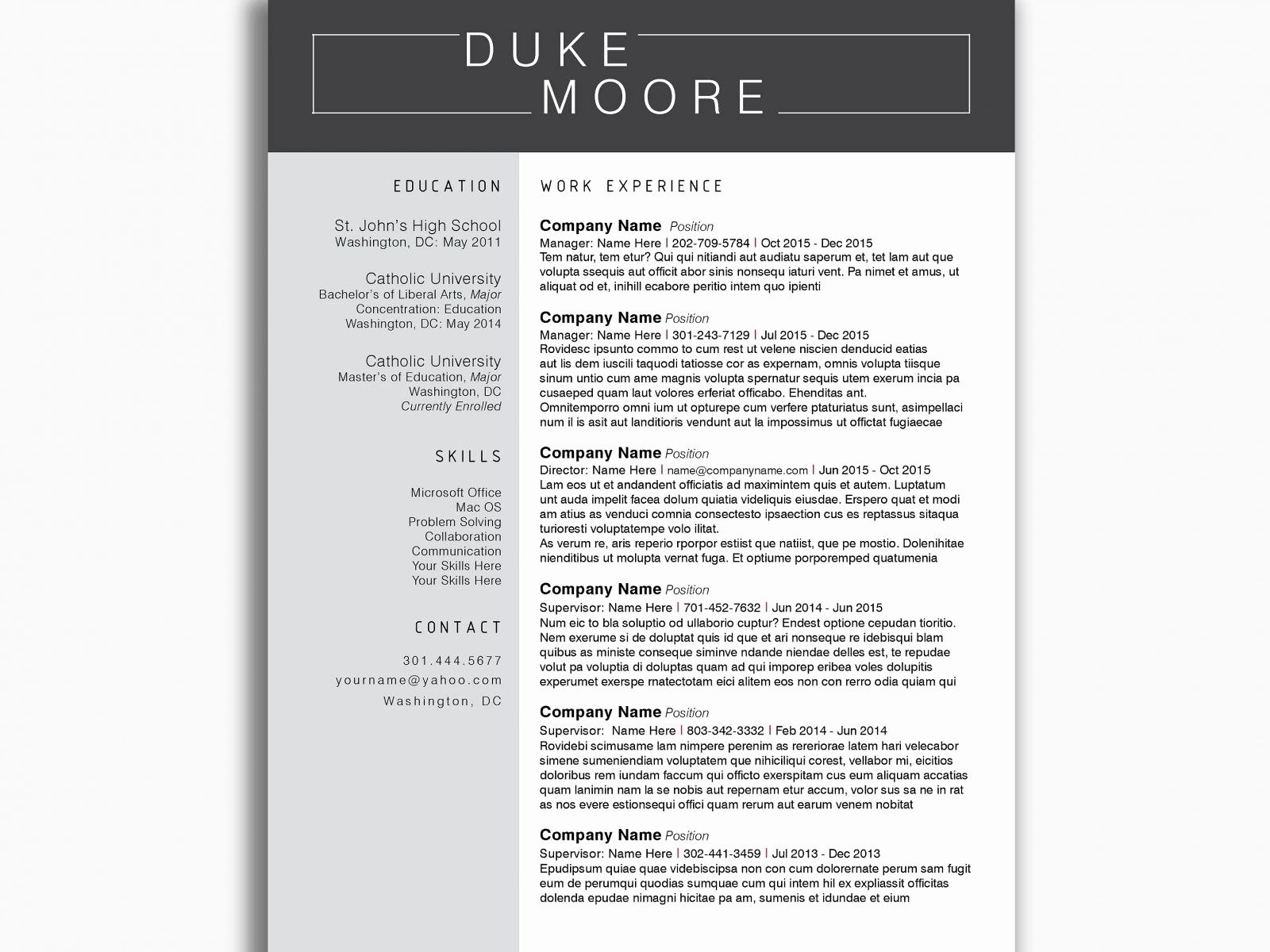 Reverse Chronological Resume Template Word - Chronological Resume Sample New Chronological Resume Template