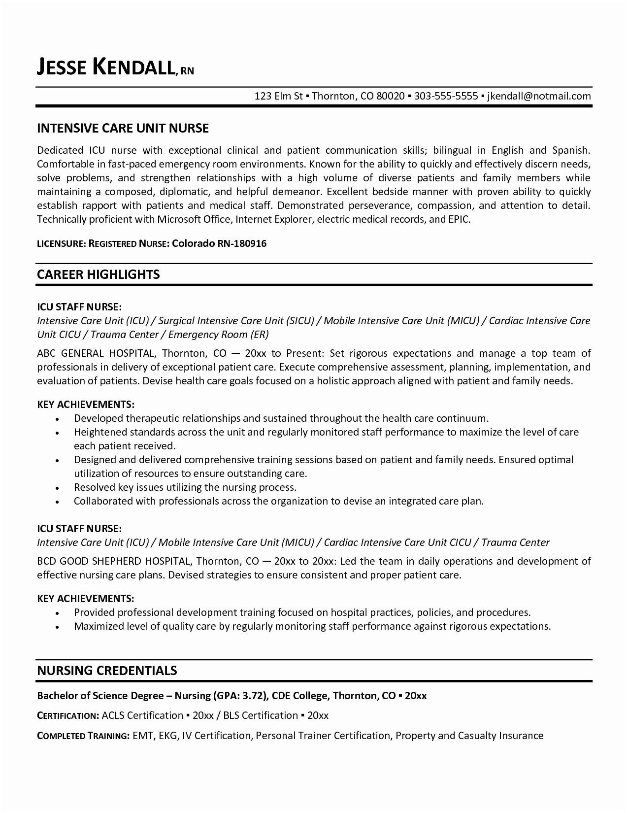 Rn Resume Examples - Good Nursing Resume Examples