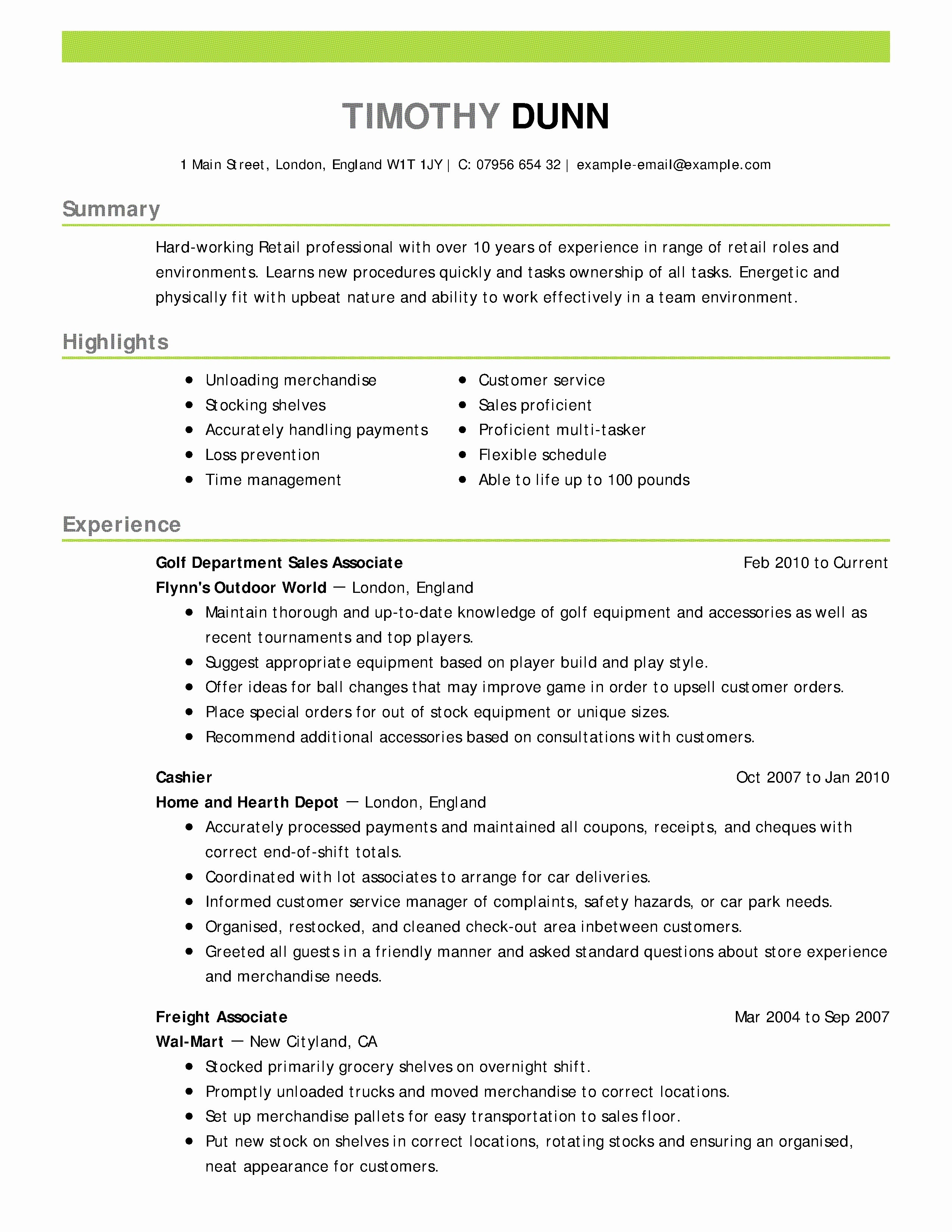 Salesperson Resume Template - 16 Fresh Sales associate Resume