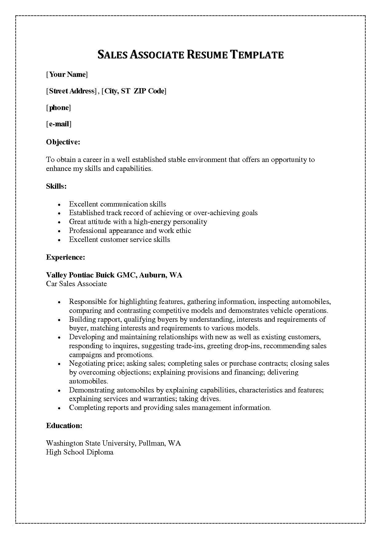 Salesperson Resume Template - Resume Examples for Sales associate Best Awesome How Can I Do A