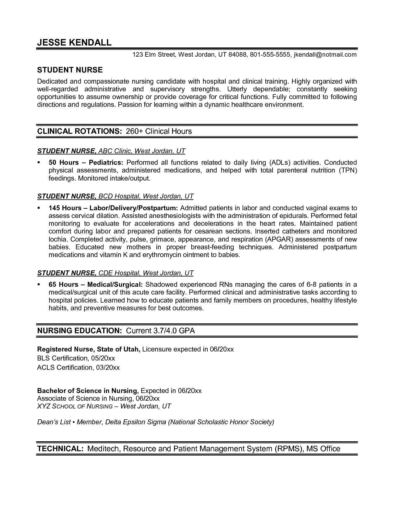 Sample Nursing Student Resume Clinical Experience - Nursing Student Resume Clinical Experience