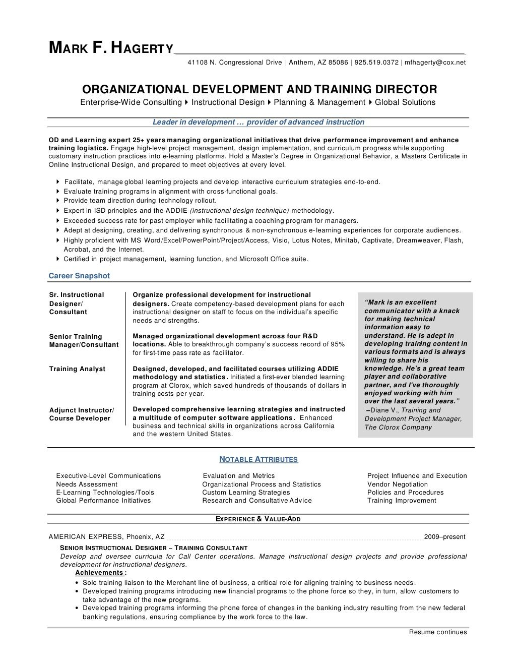 Sample Project Manager Resume - Mark F Hagerty Od Training Director Resume by Mfhagerty Via