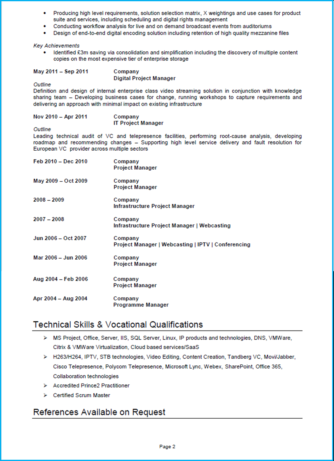 Sample Project Manager Resume - Project Manager Cv Example Cv Template and Writing Guide