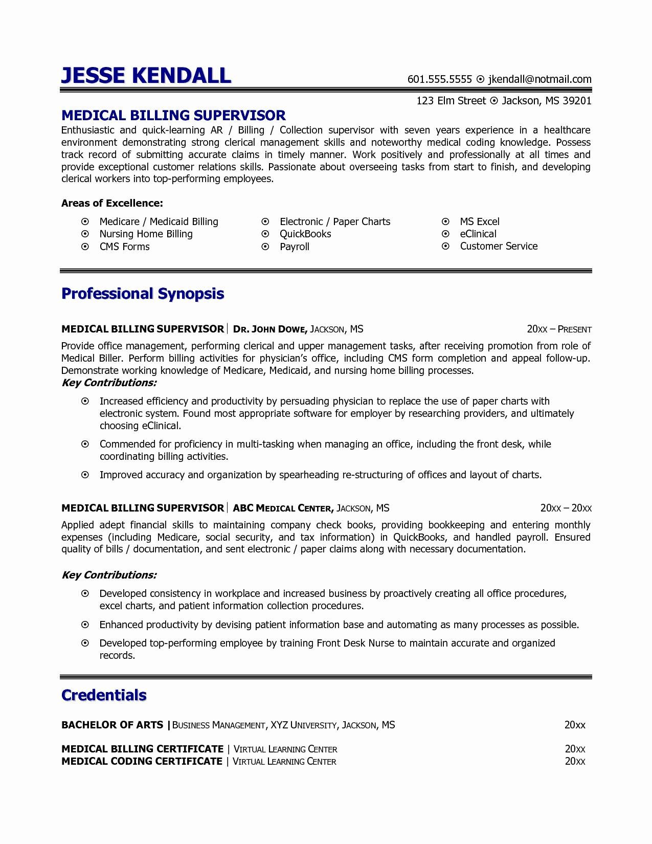 Sample Resume for Medical Billing - Medical Coding Resume Samples Best Job Description Medical