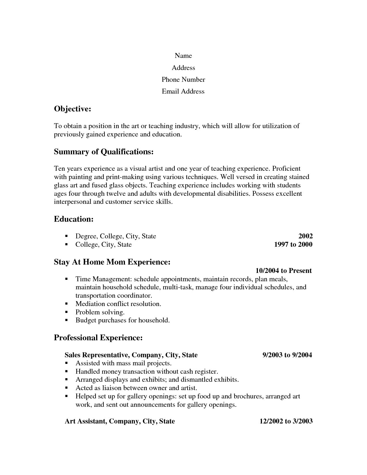 Sample Resume Stay at Home Mom Returning to Work - Example Stay at Home Mom Resume Sample Pdf Sample Resume Cover
