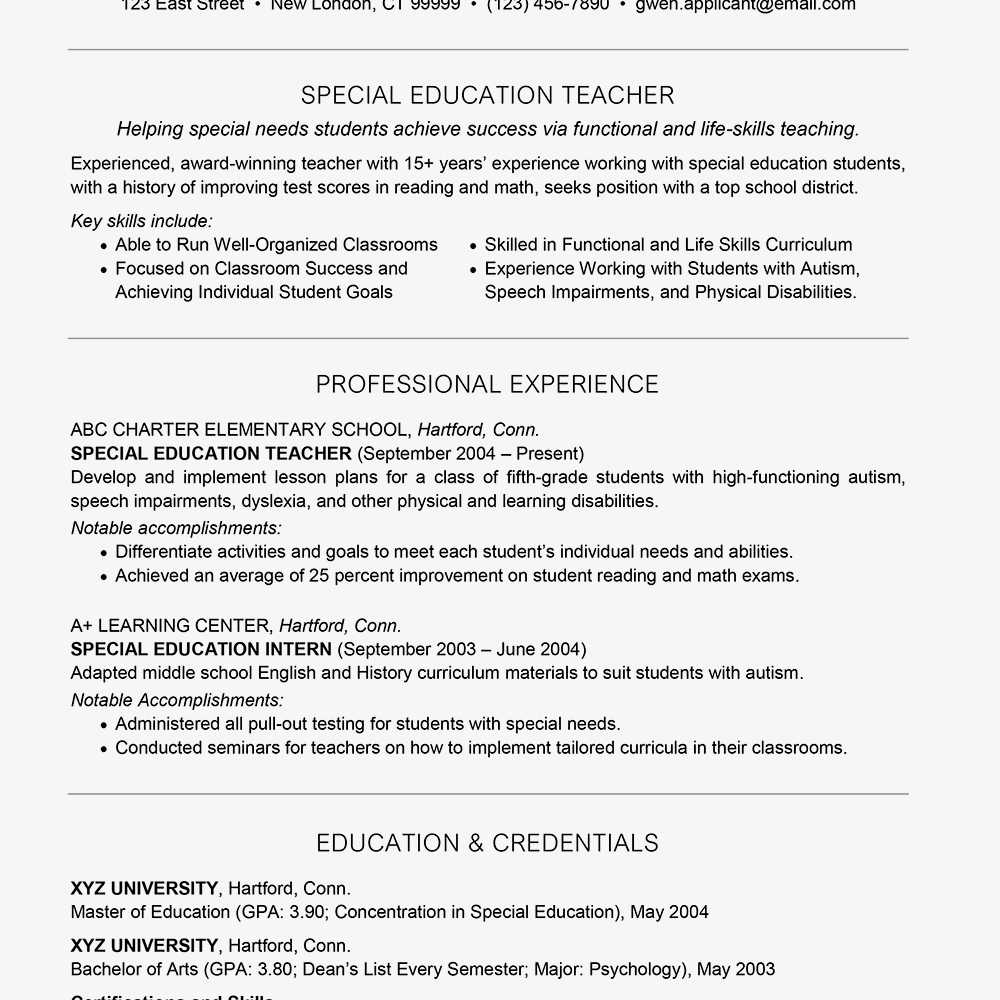 Sample Special Education Teacher Resumes - Special Education Teacher Resume Example