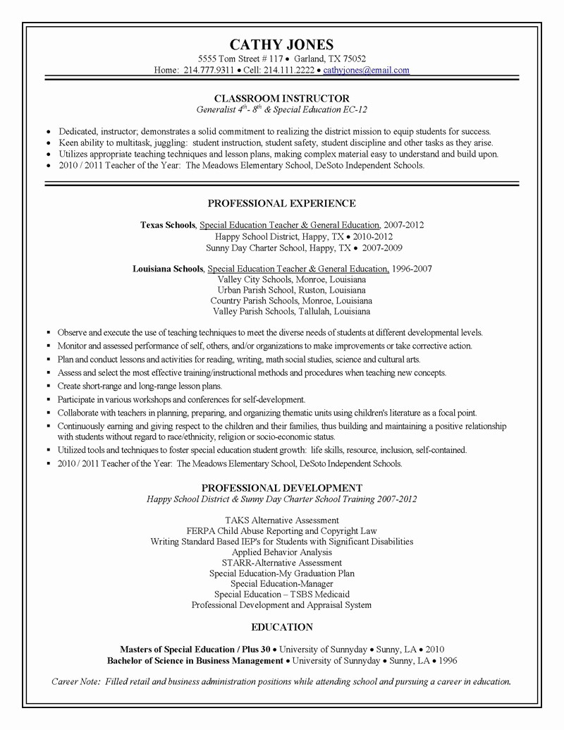 Sample Special Education Teacher Resumes - Teaching assistant Resume Luxury Special Education Teacher Resume